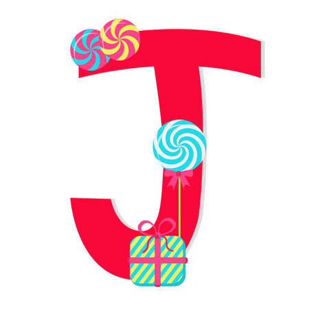 Letter j from stylized alphabet with candies Vector