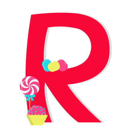 Letter r from stylized alphabet with candies Vector