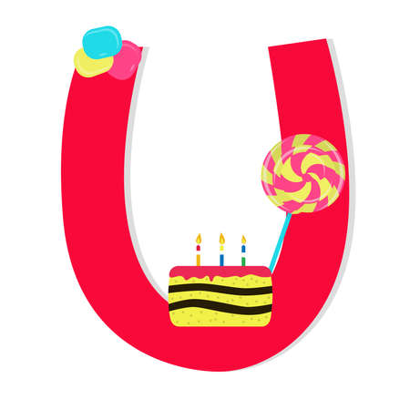 Letter u from stylized alphabet with candies Vector