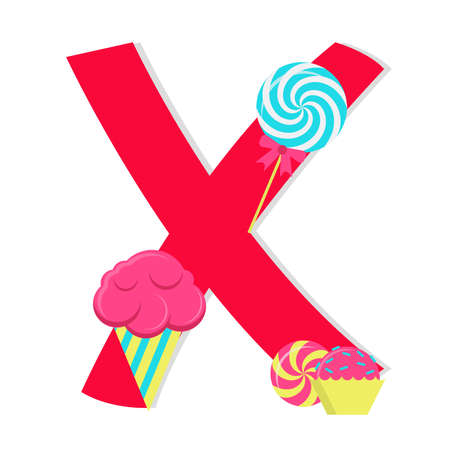 Letter x from stylized alphabet with candies Vector