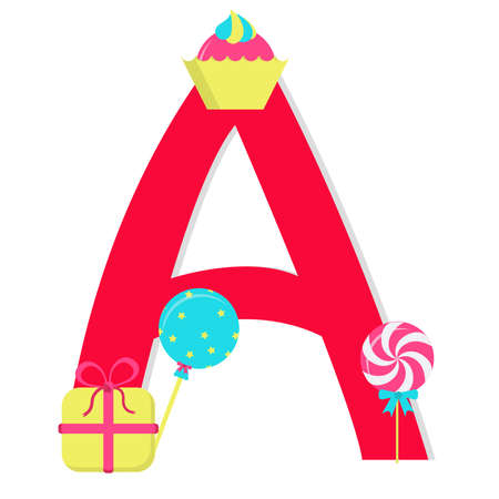 Letter a from stylized alphabet with candies Vector