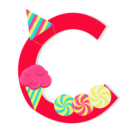 Letter c from stylized alphabet with candies Vector