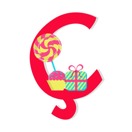 Letter cedilla from stylized alphabet with candies. Vector