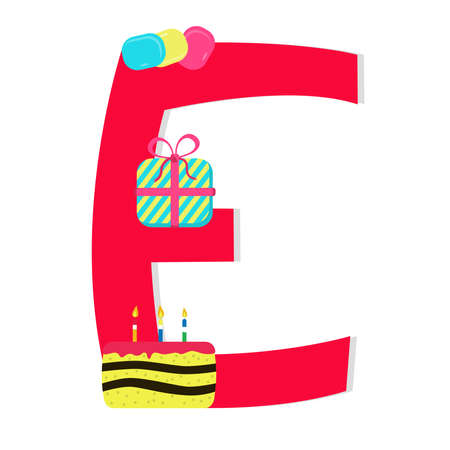 Letter e from stylized alphabet with candies Vector