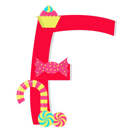 Letter f from stylized alphabet with candies Vector