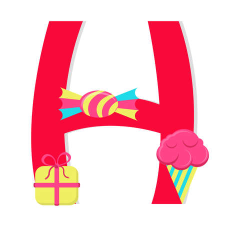 Letter h from stylized alphabet with candies Vector