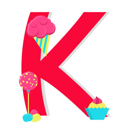 Letter k from stylized alphabet with candies Vector