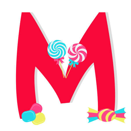 Letter m from stylized alphabet with candies Vector