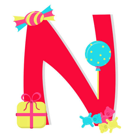 Letter n from stylized alphabet with candies Vector