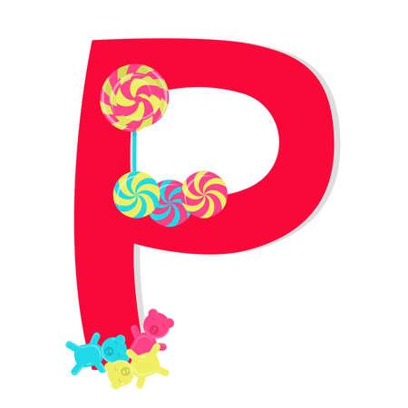 gelatina: Letra P del alfabeto estilizado con dulces: lollipop, caramelo de hierbabuena, gelatina de peluche. El fondo blanco.