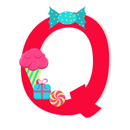 Letter q from stylized alphabet with candies Vector