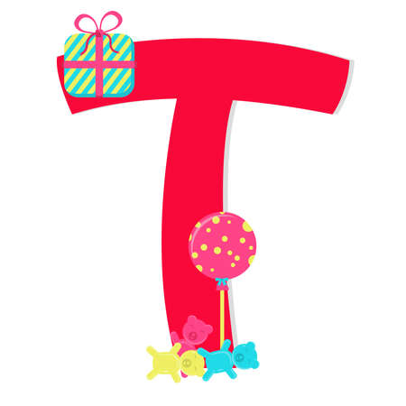 Letter t from stylized alphabet with candies. Vector