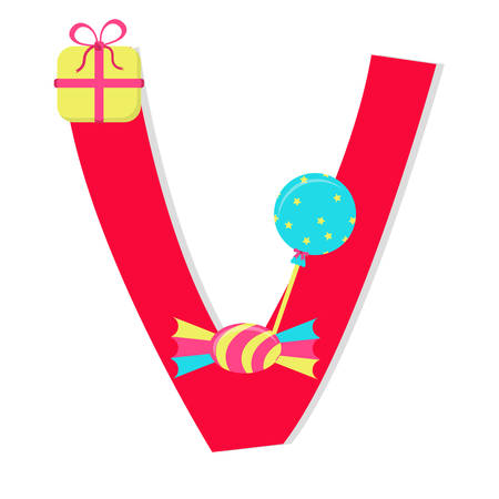 Letter v from stylized alphabet with candies. Vector
