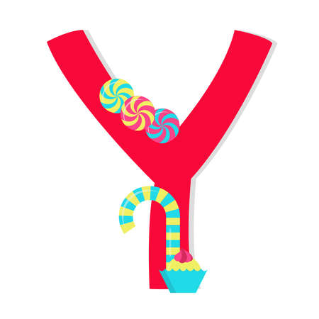 Letter y from stylized alphabet with candies Vector
