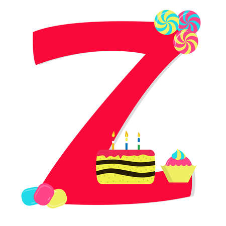 Letter z from stylized alphabet with candies Vector