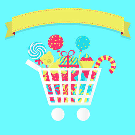 Shopping cart full of candies. Colorful. Blank ribbon for insert text. Vector
