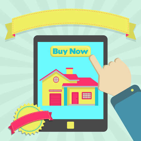 Buy house online through tablet. Colorful artwork. Blank ribbon and stamp for insert text.