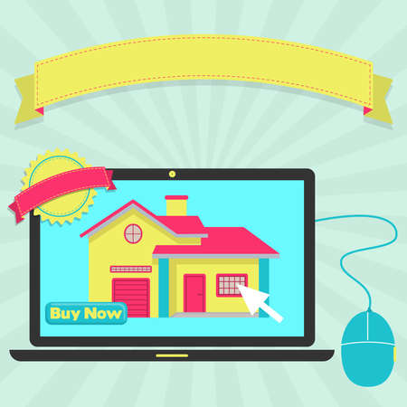 buy house: Buy house online through laptop. Colorful artwork. Blank ribbon and stamp for insert text. Illustration