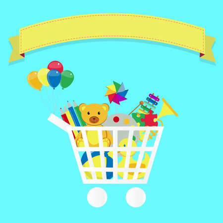 Shopping cart full of toys. Colorfu artwork. Blank ribbon for insert text. Vector