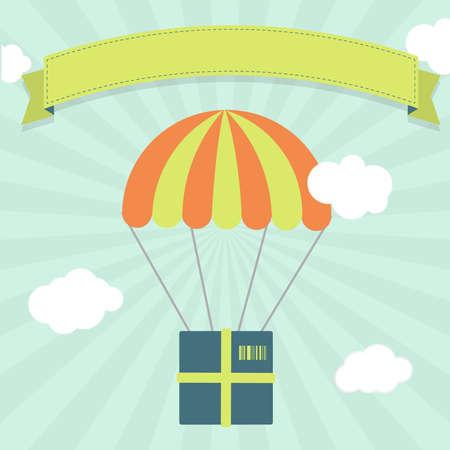 fallschirm: Paket hängt an einem Fallschirm in den Himmel, die Lieferung, Fracht, Versand. Blank Band für Text einfügen.