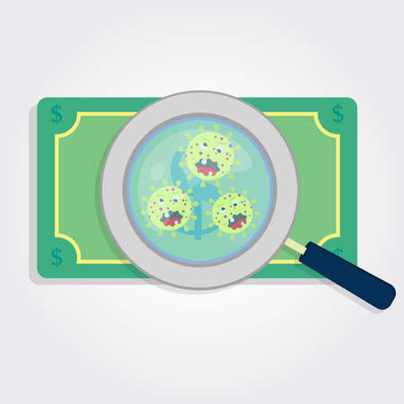 Money with germs enlarged by a magnifying glass Ilustracja