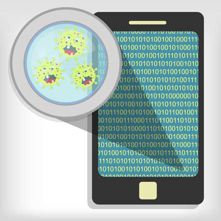 Magnifying glass showing germs on smartphone  イラスト・ベクター素材