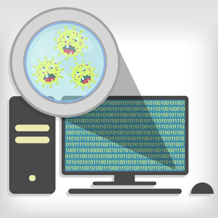 Magnifying glass showing germs on pc 일러스트