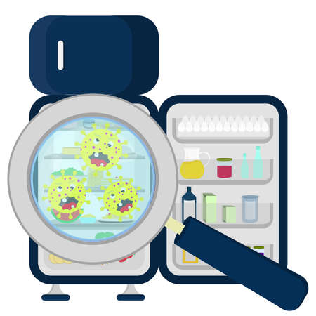 Germs in crowded refrigerator enlarged by a magnifying glass Vector Illustration