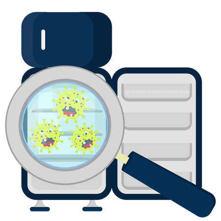 Germs in empty refrigerator enlarged by a magnifying glass Vector