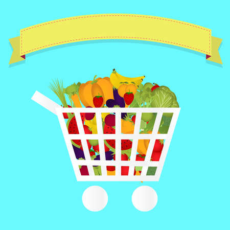 Shopping cart full of fruits and vegetables. Colorful. Blank ribbon for insert text. Vector