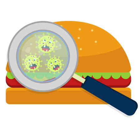 Magnifying glass showing germs on hamburguer. White background.