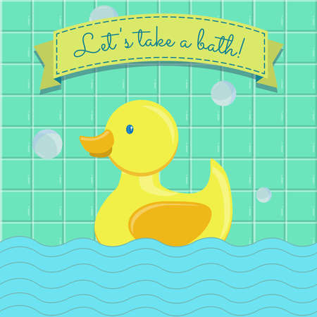 infant bathing: Banner with rubber duck swimming in the bathroom.