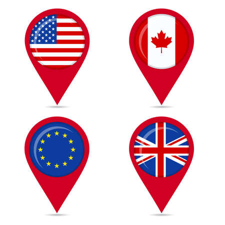 Map pin icons of national flags: united states, canada, europe, european union, united kingdom. White background.
