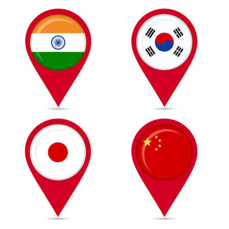 Map pin icons of national flags: india, south korea, japan, china. White background. Vector