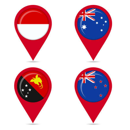 Map pin icons of national flags: Papua New Guinea, Australia, New Zealand, Indonesia. White background. Illustration