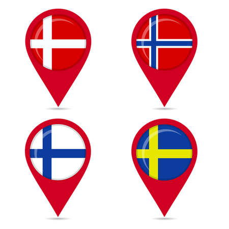Map pin icons of national flags: Norway, Denmark, Finland, Sweden. White background. Vector