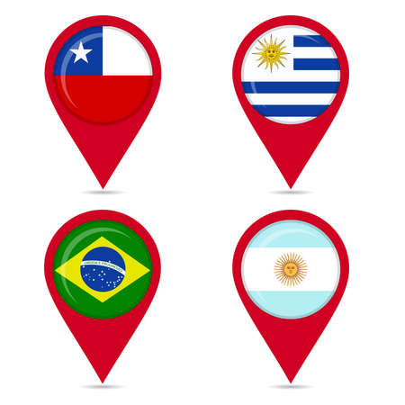 Map pin icons of national flags: Uruguay, Chile, Brazil, Argentine. White background.  イラスト・ベクター素材