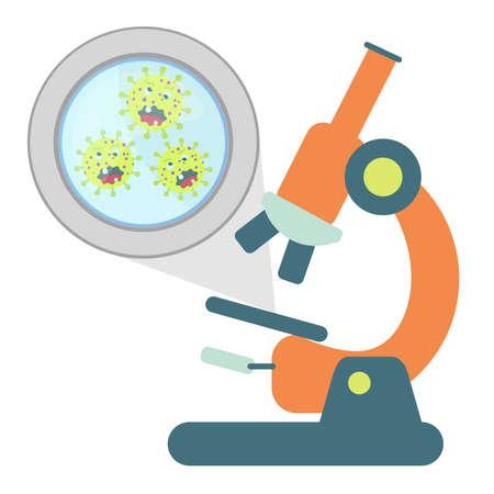 enlarged: Germs allargata da un microscopio. Isolato. Sfondo bianco.