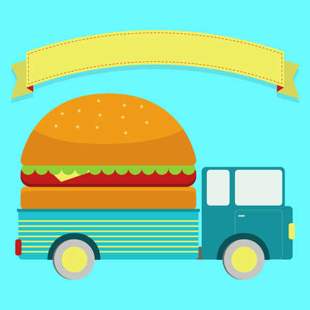 Truck with a giant sandwich in body. Blank ribbon for insert text. Vector