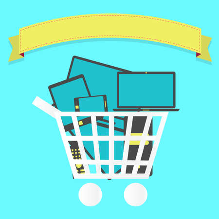 Shopping cart full of electronics: tablet, smartphone, laptop, tv. Blank ribbon for insert text. Vector
