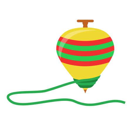 Spinning giocattolo superiore in uno sfondo bianco. Isolato. Vettoriali