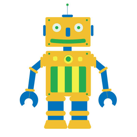 funny robot: Jouet robot dans un arri�re-plan blanc. Isol�.