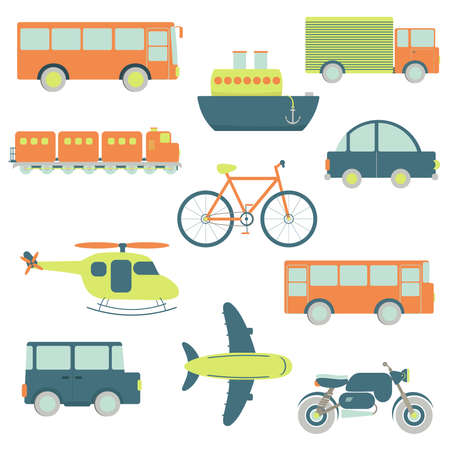 Transportation facilities in a white background