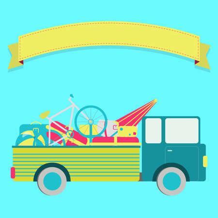 Truck full of bags, ball, bike, umbrella. Blank ribbon for insert text. 向量圖像