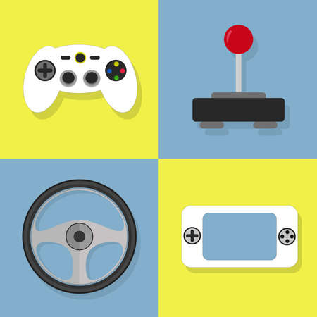 handheld device: Colorful icons of videogame. Joystick, controller, wheel, game pad. Illustration