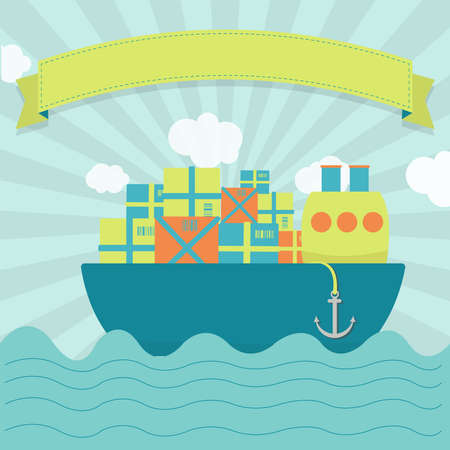 Cute cargo ship carrying parcels and goods. Blank ribbon for insert text. Vector
