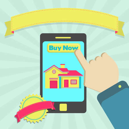 buy house: Buy house online through phone. Colorful artwork. Blank ribbon and stamp for insert text. Illustration
