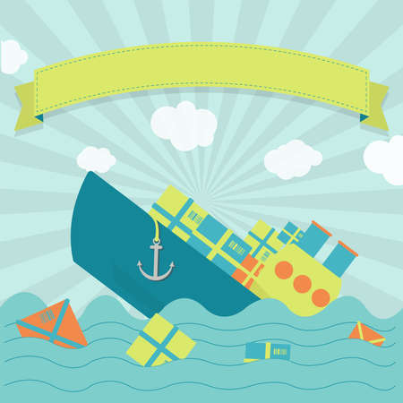 maritime accident: Cute cargo ship sinking. Packages and goods floating on the sea. Blank ribbon for insert text.