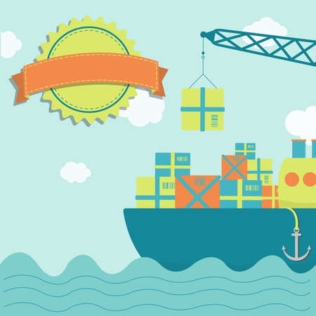 Crane loading ship with goods. Blank stamp for insert text. Vector