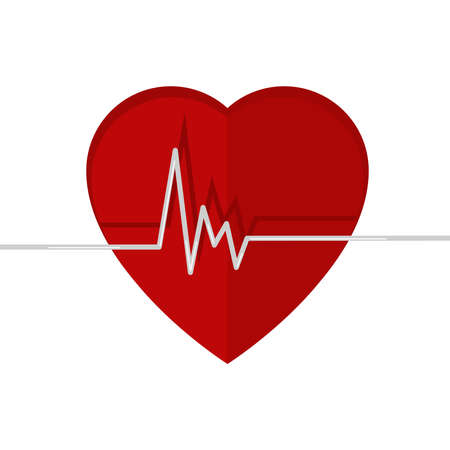 Heartbeat. Echokardiographie. Cardiac Prüfung. Form des Herzens und der Herzschlag. Isoliert auf weißem Hintergrund. Standard-Bild - 33520037